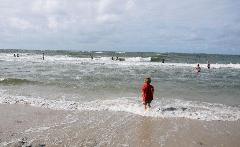 Amrum Badende im Nordsee-Wasser